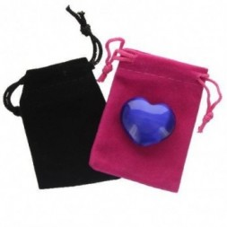 Dark Blue Cats Eye Heart in Pouch