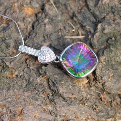 Imagine Mystic Fire Crystal Silver Heart Cube Pendant