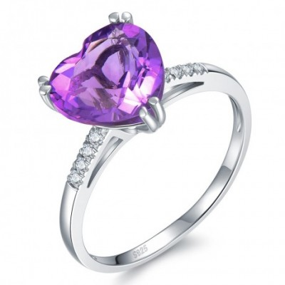 Amethyst Crystal Silver Love Heart Ring