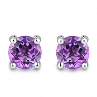 Amethyst Silver Round Studs Earrings 5mm