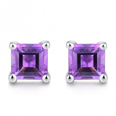 Amethyst Silver Square Studs Earrings 5mm
