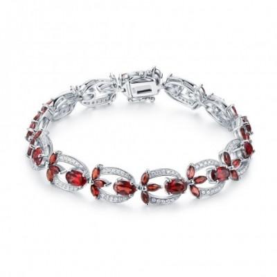 Blossoms Red Garnet Silver Spring Flower Bracelet