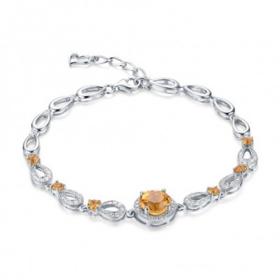 Belle Yellow Citrine silverjewelry RoundShaped Bracelet