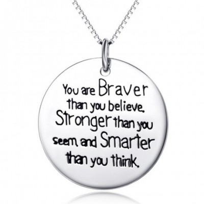 Allergy Circular Round Plate Strong Brave Silver Necklace