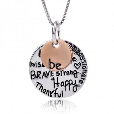 Be Happy Strong Round Circle Silver White & Rose Necklace