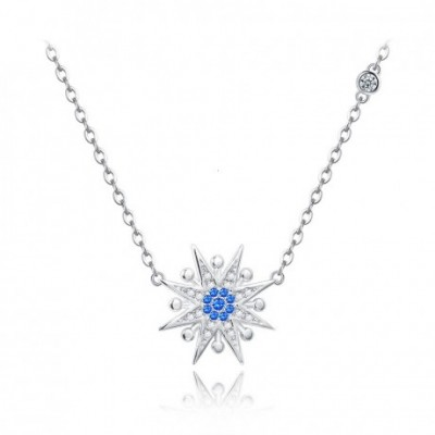 Blue Star Flower Silver  Necklace