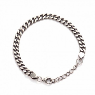 Beveled Cuban Curb Bracelet Solid Silver Link Chain