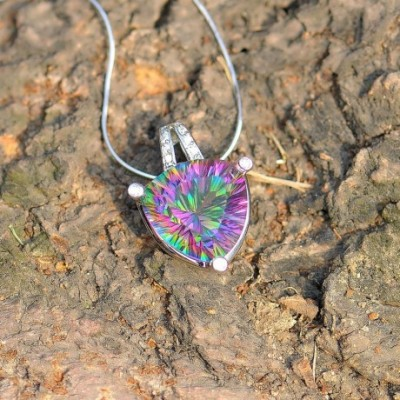 Trilogy Mystic Fire Crystal Silver Triangle Pendant
