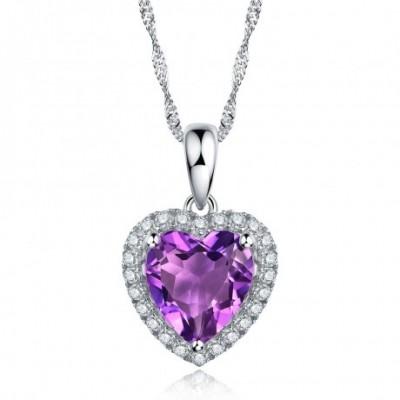 Amethyst Silver Loving Heart Zirconia Pendant