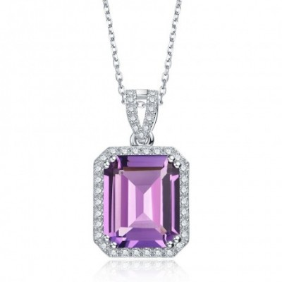 Amethyst Crystal Silver Square Pendant