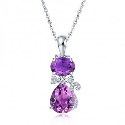 Cat Amethyst & Silver Necklace