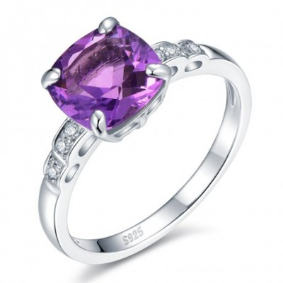 Amethyst Crystal Silver Love Square Ring