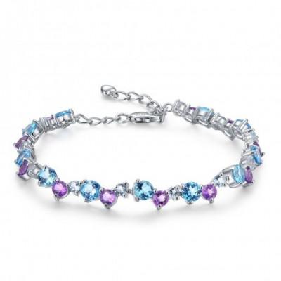 Blue Topaz & Amethyst Gem Silver Bracelet