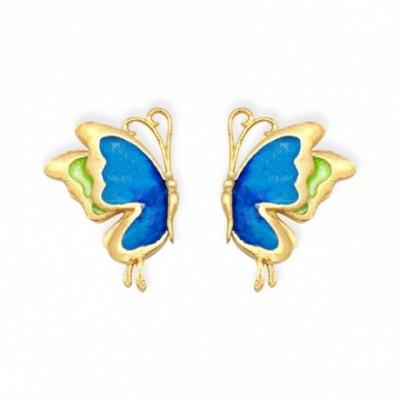 Butterfly Cloisonne Silver Stud Earrings