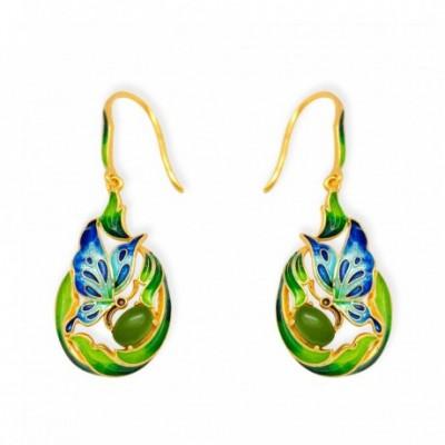 Butterfly Enamel & Jasper Gold-plated Earrings