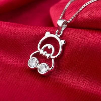Silver Bear White  Gemstone Solid Silver Pendant