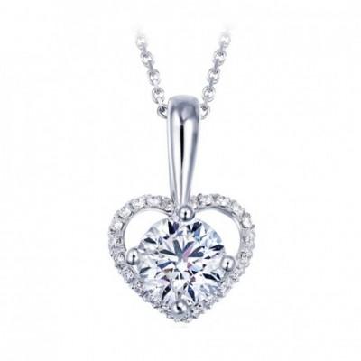 HeartShaped  White  Gemstone Silver Pendant
