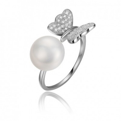 Butterfly Pearl & Silver Adjustable Ring