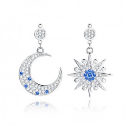 Asymmetry Star Moon White & Blue Silver Dangle Earrings