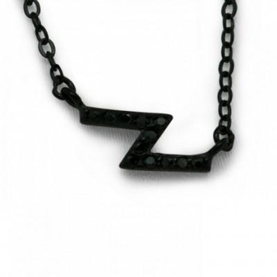 Black Flash Silver  Gemstone Necklace