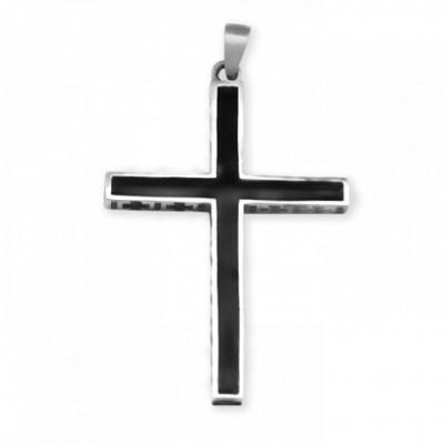 Black Jesus Christian Cross Silver Pendant
