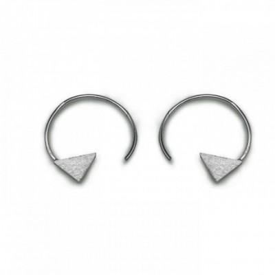 Arrows Hook Silver Black White Hoop Earrings