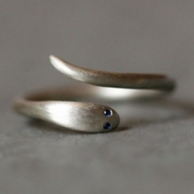 Baby Snakee Blue  Gemstone Silver Adjustable Ring