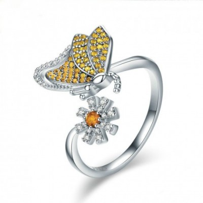 Butterfly Daisy Silver Adjustable Ring