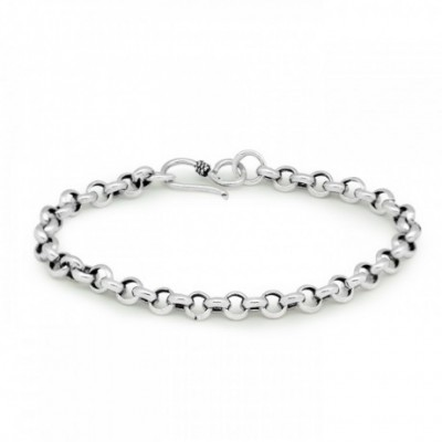 Cable Link Rope Silver Bracelet