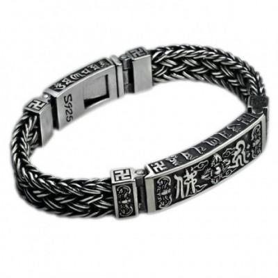 Buddhism Thai Om Mani Padme Hum Chain Silver Bracelet