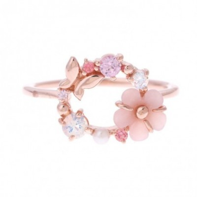 Flower Gemstone Gold-plated Ring