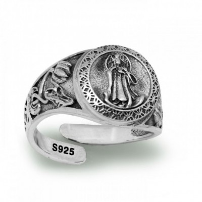 Carved Guanyin Buddha Silver Adjustable Ring
