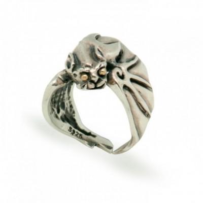 Carved Bat Adjustable Silver Ring