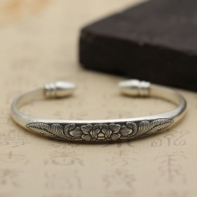 Complex Carved Ethnic Matte Peony Adjustable Silver Bangle