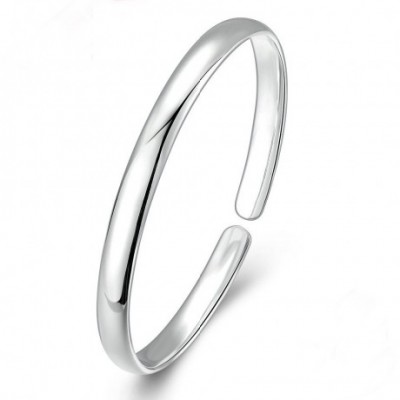 Adjustable Smooth Round Silver Bangle