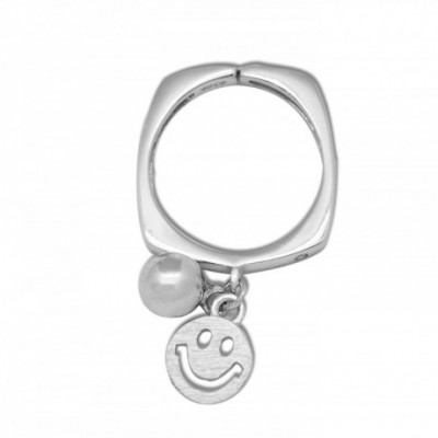 Bead Smile Face Adjustable Silver Ring