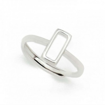 Adjustable Rectangle Silver Ring