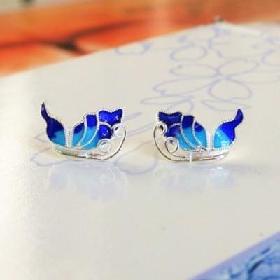 Butterfly Blue Silver Studs Earrings