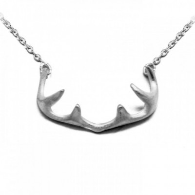 Antlers Drawing Silver Necklace