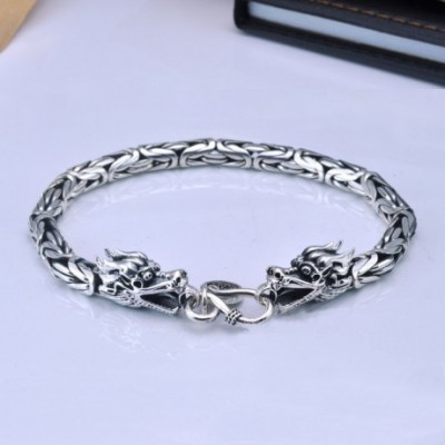 Domineering Dragon Silver Studs Bracelet