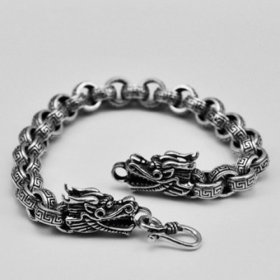 Domineering Two Dragon Silver Studs Bracelet