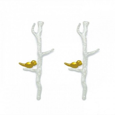 Birds Branches Silver Studs Earrings