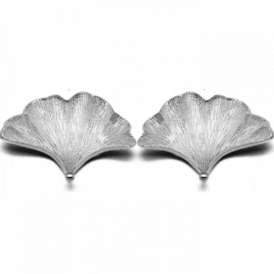Apricot Leaf Silver Studs Earrings