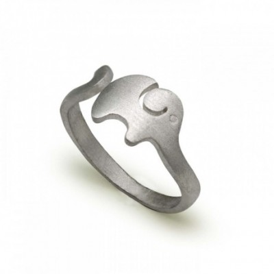 Elephant Silver Adjustable Ring
