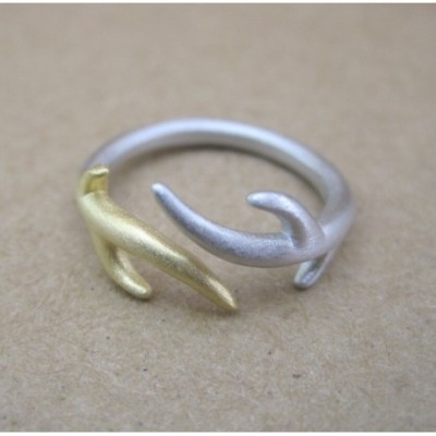 Adjustable Antlers Silver Ring