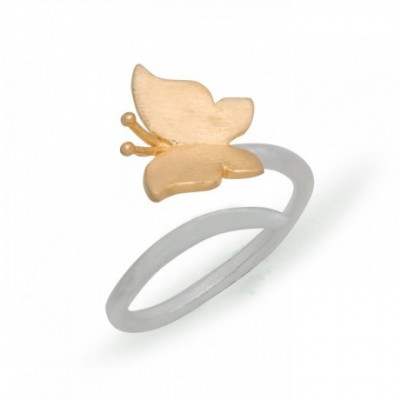 Butterfly Adjustable Silver Ring