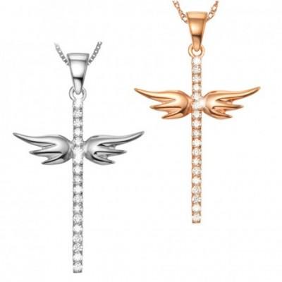 Angle Wing Cross Silver Pendant