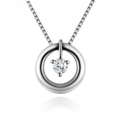 White Cubic Zirconia Round Circle Silver Pendant