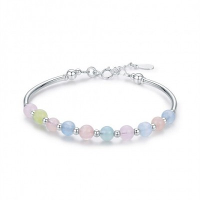 colourful Beryl Beads Silver Bracelet