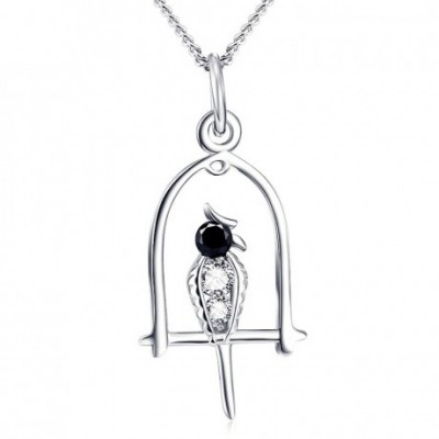 Black White Woodpecker Silver  Gemstone Necklace